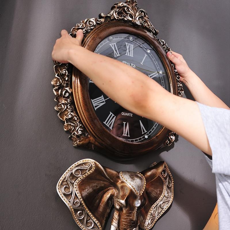 European Retro Wall Clock Villa Living Room Home Wall Clock Creative Luxury Elephant Art Decoration Clock Mute Wall Clock