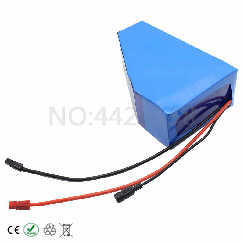 1000W 48V Lithium Battery 48V 13AH Battery Pack 48 Volt Triangle Ebike Battery 13AH use 2600MAH cell 30A BMS 2A Charger Free Bag