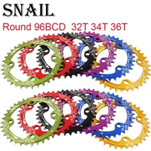 SNAIL Round Chainring 96 BCD 32 34 36 38T Narrow Wide Tooth single ultralight tooth plate MTB Mountain bike 96BCD road bike цена 2017