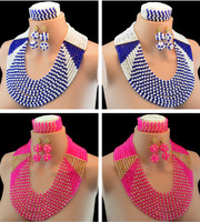 3 Piece Suit Turkish Jewelry Earrings And Necklace For Women Nigerian Wedding African Beads Jewelry Set Crystal 10049