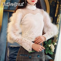 TWOTWINSTYLE Lace T shirts For Women Oversize Long Sleeve Hollow Out Patchwork Feather Womens T shirt Korean Styles 2018 Autumn