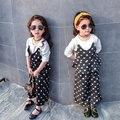 2017 Crianças Meninas 2 PCS Set Roupas Dot Fasle 2 pcs blusa + perna larga calças Crianças primavera roupas conjunto de Roupas de Estilo Coreano para meninas