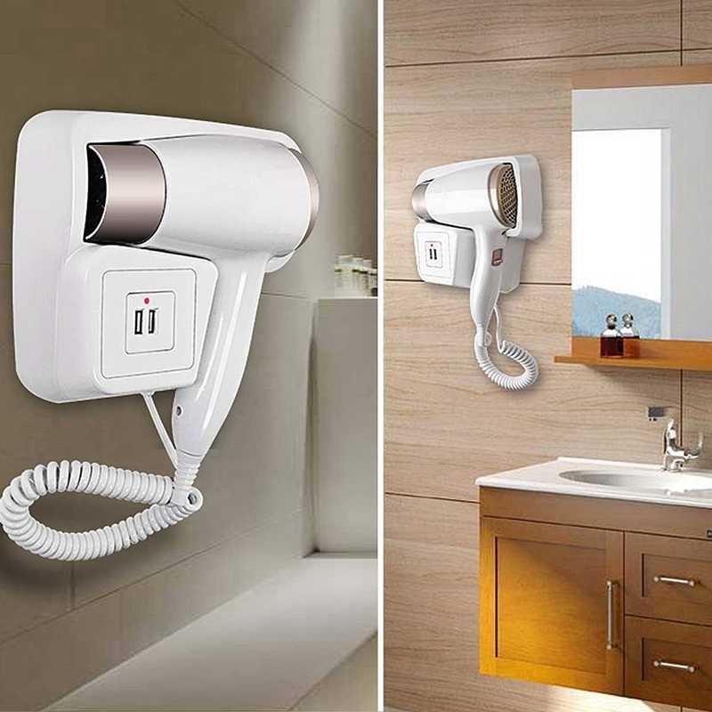 220V 1300W 2 Modu Ayarlanabilir USB soket Duvar Asılı Tip Elektrikli Otel Ev Banyo Saç Kurutma Makinesi Tutucu Salon Saç darbe Kurutma Makinesi