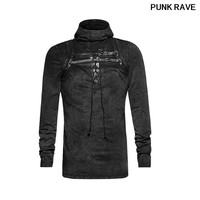 Steampunk Cover Face Elastic Knit Eyelet String Bandage T shirt Black Men PU Leather Loop Plain Hooded T shirt PUNK RAVE T 442