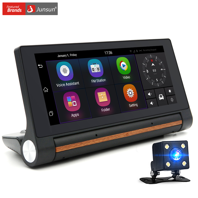 Junsun G   Inch Car Gps Navigation Android Navigator With Car Dvr Video Recorder Dual Lens Fhd P Automobile Truck Gps