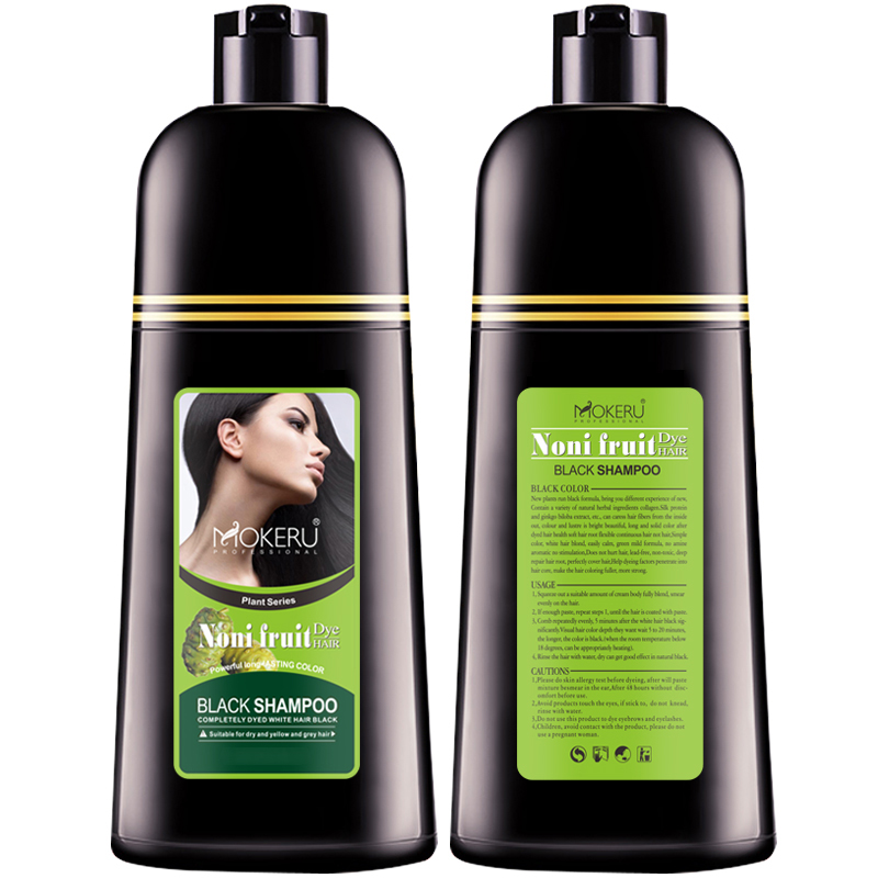 2 pc Mokeru Noni Herbal Black Hair Magic Fast Dye Shampoo For The Black Magic Comb Color Hair