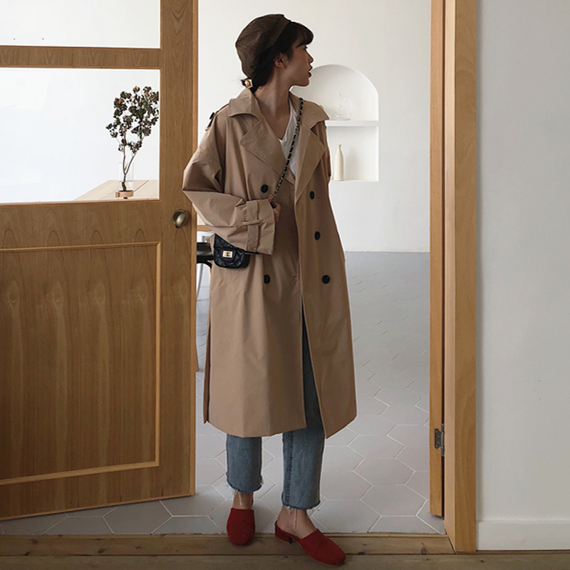 Femmes 2019 printemps et automne marque de mode corée Style Vintage lâche longue Trench décontracté kaki rouge Trench manteau tissu