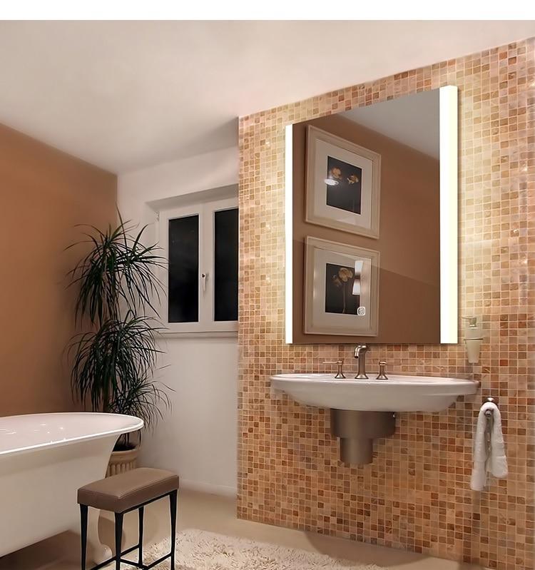 800x600mm LED Mirror / Bathroom Defogger Mirror /  Wet Location / 220V LED Lighted Mirror / Futuristic Chic Glossy 3