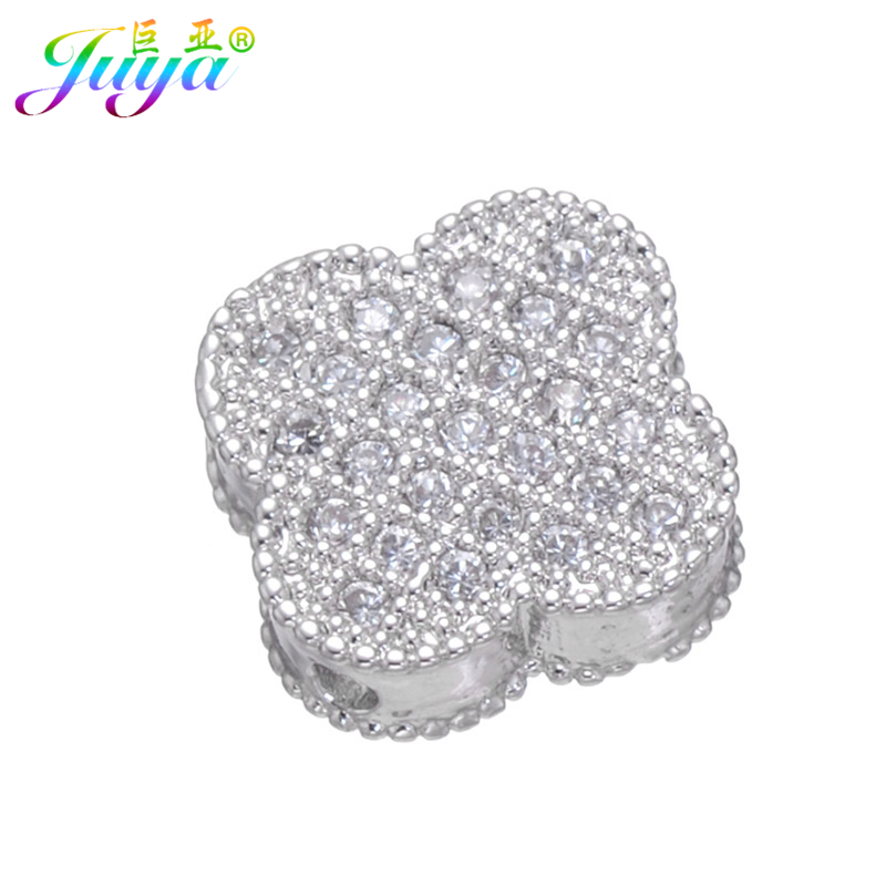 10mm DIY Beadwork Jewelry Material Components Supplies Micro Pave Exquisite Cubic Zirconia Clover Charm Metal Beads Accessories