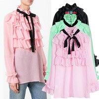 Ky Q 2018 Spring Vintage Black Green Pink Chiffon Blouses Tops Women Long Sleeve Ruffles Bow
