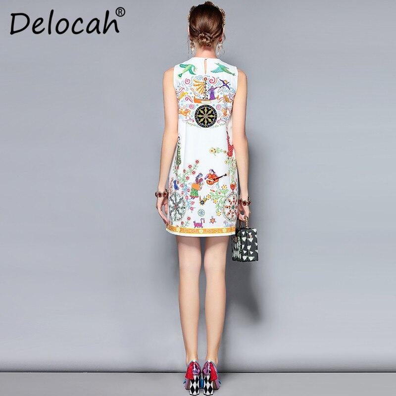 Femmes Créateur Sans De Courte Qualité Delocah Manches D'été Perles Blanc Élégant Vintage Robe Haute Imprimé Magnifique Mode Mini FqYtXw