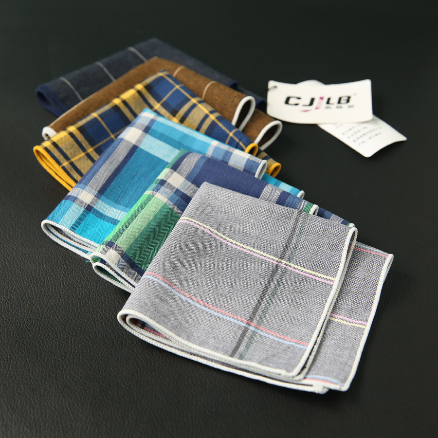 New Fashion Designer Men's Casual Print Plaid Pocket Square Handkerchiefs Cotton Hanky 24x24cm 30pcs/lot