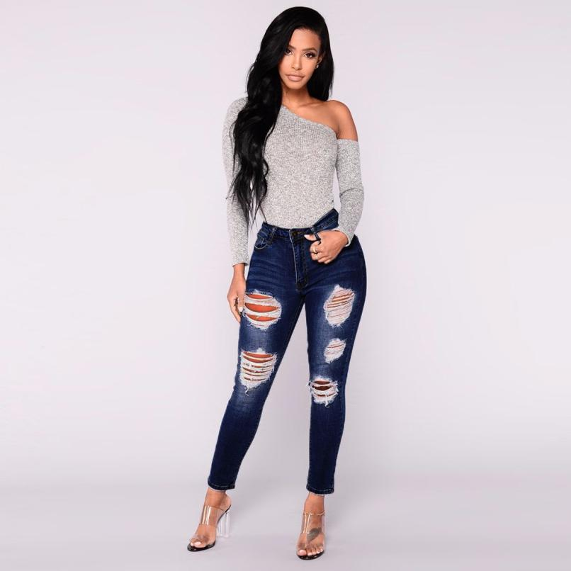 Jeans Bottoms Good Hole Ripped Jeans Women Pants Cool Denim Pencil Jeans For Girl Pants Andrea Mendes Arroio Deiama Miami Beach Brazilian Brunette