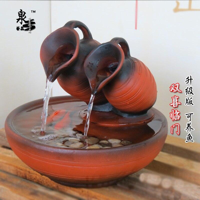 Ornements créatifs feng shui fontaine d'eau humidificateur rond aquarium ornements artisanat accessoires maison cadeau de mariage