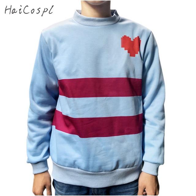 Undertale Cosplay Costume Frisk Round Neck Top Women Thick Blue Warm Shirt  Stripe Red Heart Design