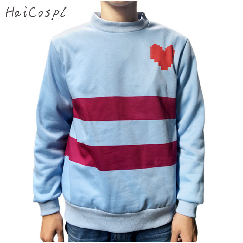 Undertale Cosplay Costume Frisk Round Neck Top Women Thick Blue Warm Shirt Stripe Red Heart Design Long Sleeve Swearshirt Adult