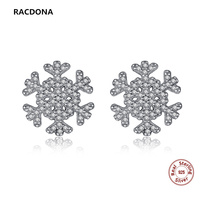 Snowflake Stud Earrings Zircon Paved Micro High Quality 925 Sterling Silver Compatible With Pandora Jewelry Earrings