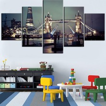 Top-Rated Framework 5 Pieces HD Printed Painting Night Cityscape Tower Bridge Type Poster For Modern Decorative Living Room