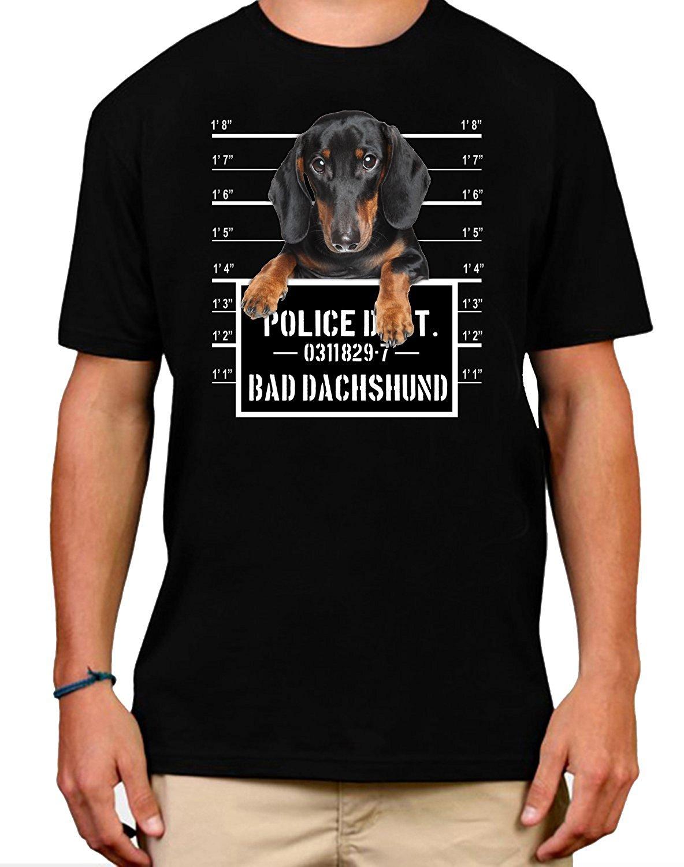Funny Bad Dachshund Black Wiener Dog Jail Mug Shot Mens T Shirt Fashion New Arrival Simple Print T-Shirt Male Brand Top Tee