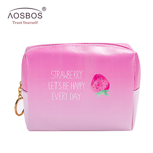 d04dbac382ac US $4.99 45% OFF|Aosbos Ladies Cartoon Strawberry Cosmetic Bag Women Large  Capacity Travel Toiletry Bags Cute Portable PU Leather Make Up Bags-in ...