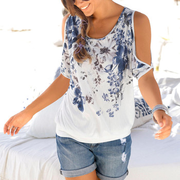 Summer Cold Shoulder Blouse Printed Floral Loose Shirt Blusa