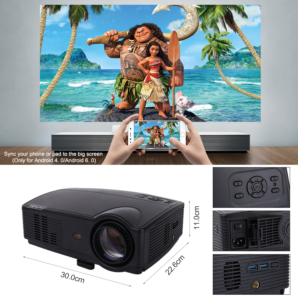 Image 4 - Touyinger Everycom X9 LED HD Projector 3500 Lumens Beamer 1280*800 LCD TV Full HD 4K Video Home Theater Multimedia HDMI /VGA/ AV-in LCD Projectors from Consumer Electronics