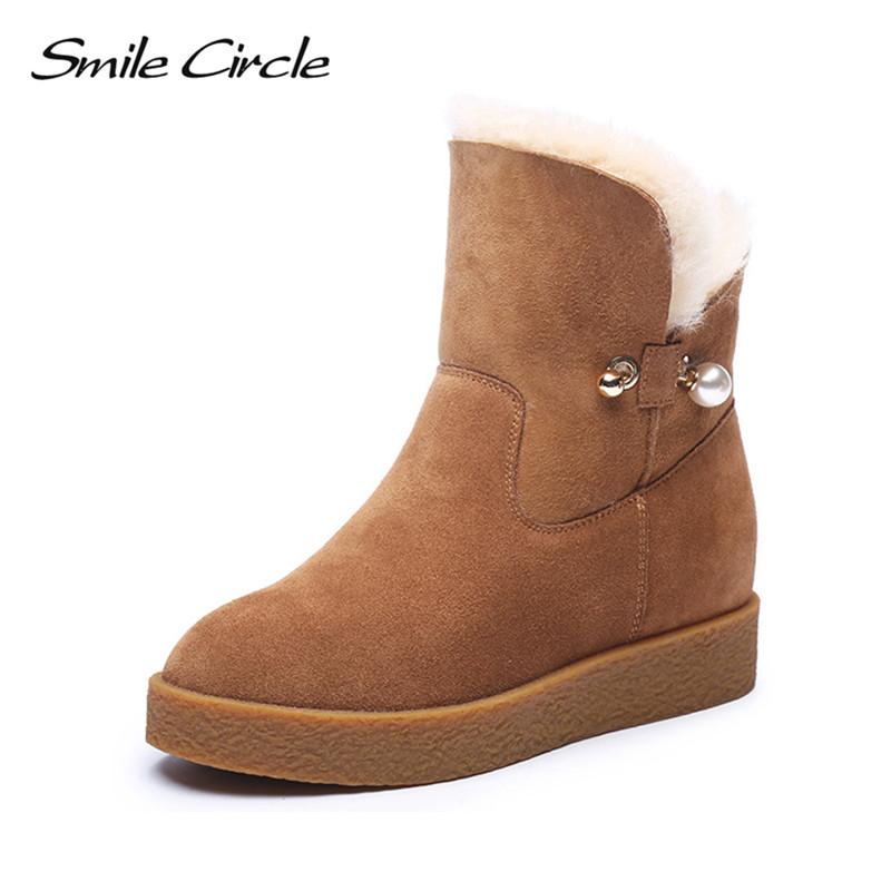 Smile Circle Winter Boots Suede Genuine Leather Snow Boots Women Fashion Ankle Boots Waterproof Wool Warm Platform Wedges Shoes zorssar 2017 new classic winter plush women boots suede ankle snow boots female warm fur women shoes wedges platform boots