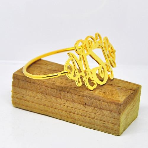 Whole Monogram Thin Bangle Gold Personalized 3 Initial Bracelet Custom Nameplate Jewelry Preppy Christmas Gift