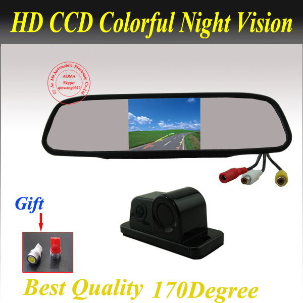 3 In 1 Free Shipping Integrated car rear view camera with visible parking sensor and buzzer IR night vision Parking Assistance