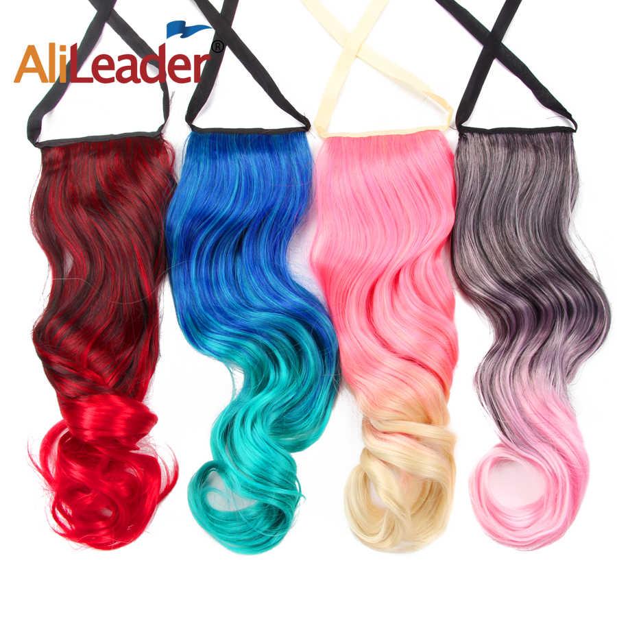 Alileader блондинка наращивание тела Волнистые конский хвост Омбре конский хвост женщина шиньон один шт Радуга Розовый Синий Серебряный наращивание волос