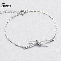 Vintage Real 100 925 Sterling Silver Fine Jewelry Bracelet Knot Charms Bracelets Bangles For Women Silver