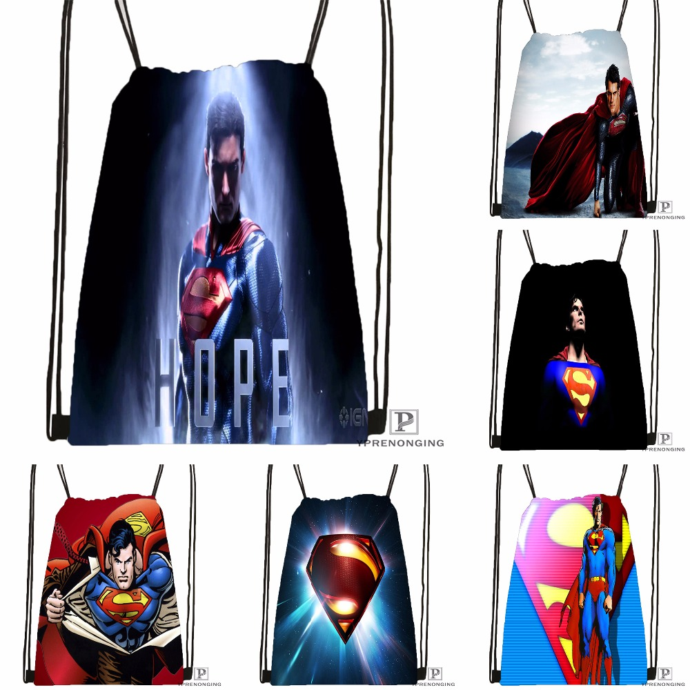 Custom Superman 24 Drawstring Backpack Bag Cute Daypack Kids Satchel (Black Back) 31x40cm#180531-04-13