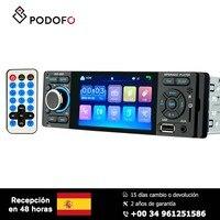 Podofo 4'' HD Car radio Video Player MP5 1din Capacitive Touch Screen Digital Display Bluetooth Multimedia Build in Autoradio FM