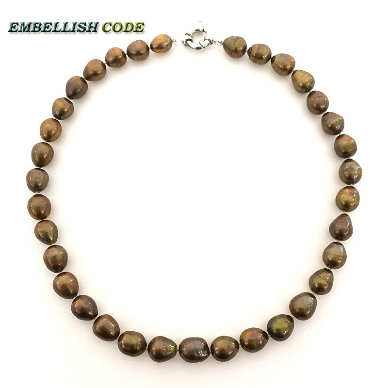 coffee brown color Classic traditional pearls Choker necklace rice elongate shape real freshwater pearl for women every clothes