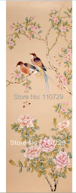 Hand-painted silk wallpaper painting Peony Cherry flowers birds many pictures optional iarts aha072962 hand painted thick texture of knife painting trees oil painting red 60 x 40cm