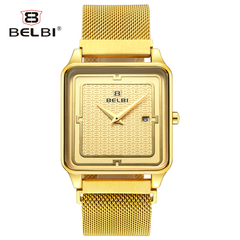 BELBI Business Mens Watch Luxury Style with Comfortable Milan Strap Free Adjust Watch Buckle Ultra-thin Steel Male Wristwatches