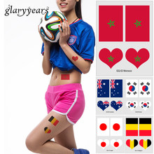 Glaryyears 10 Lembar Rusia Piala Dunia 2018 Football Sementara Flag Stiker tato GQ Jantung Brasil Jerman Decal Wajah Arm Art DIY(China)