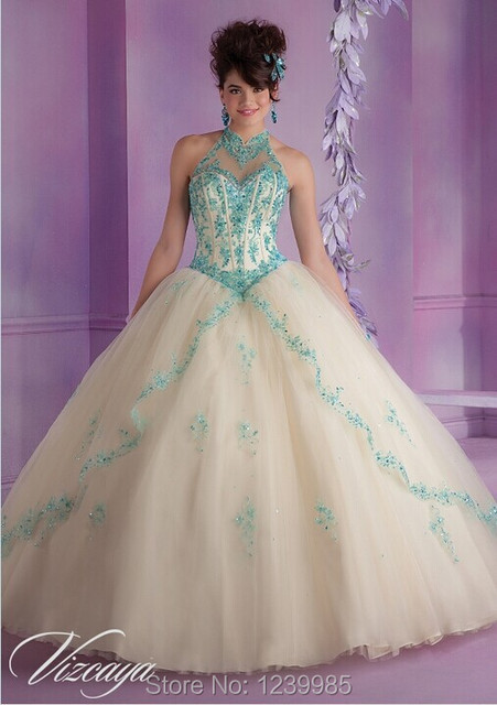 6cc48b7c3ef Style 2018 Wonderful Champagne Aqua Tulle Quinceanera Dress with Embroidery  and Beading Ball Gown Special