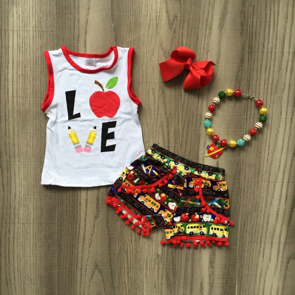 baby girls summer boutique outfits baby kids back to school clothing Apple pencil print chidren five style with accessoriesbaby girls summer boutique outfits baby kids back to school clothing Apple pencil print chidren five style with accessories