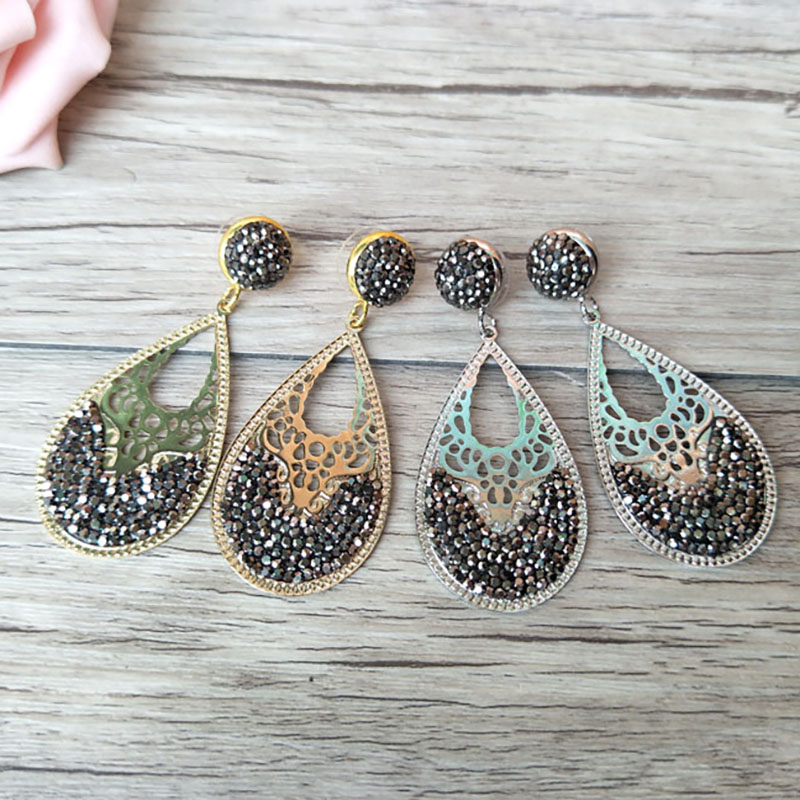 5 Pairs Fashion water-drop hollow out earrings Paved Rhinestone Crystal Charm Dangle earrings Jewelry for women ER526