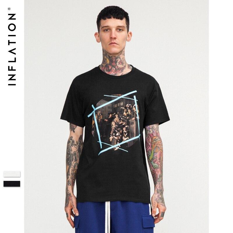L'INFLATION 2018 nouvelle mode t-shirt homme graphique imprimer haut à manches courtes t-shirts t-shirt streetwear cool hip hop t-shirts 8254 S