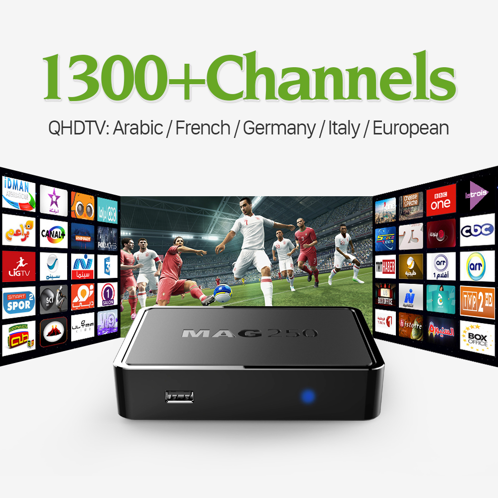 MAG 250 Linux IPTV OTT Set Top Box With QHDTV Subscription 1300 Live IPTV Channels Arabic
