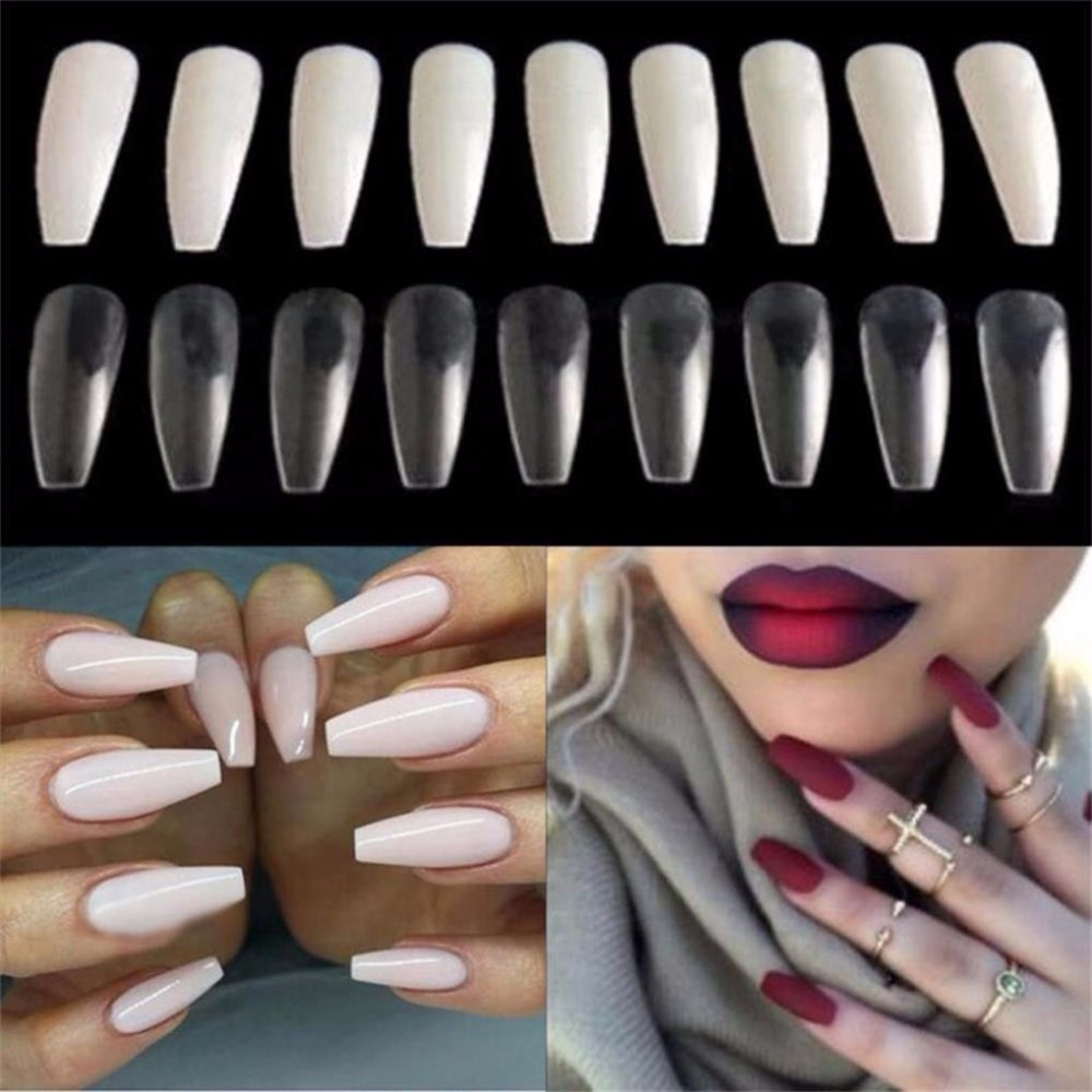 100pcs Ballerina Nail Tips Full Coffin Shape French Fake Nail ...