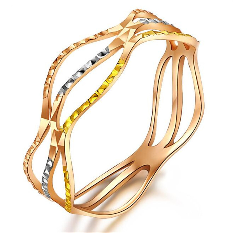 Trois sertissage amour Lucy famille trois couleurs vague bagues 18 K pur or marque de mode Rock bijoux pour les femmes