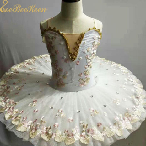 Bailarina Ballet Stage Shows Costume For Adult Ballet Professional Dancewear Girl Tutu Ballet pink/rose/purple Flower lace Dress