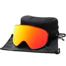 Big Vision Ski Goggles Cylindrical Double Layers Anti-fog Lens Photochromic UV400 Skiing Mask Snowboard Glasses Eyewear With Box
