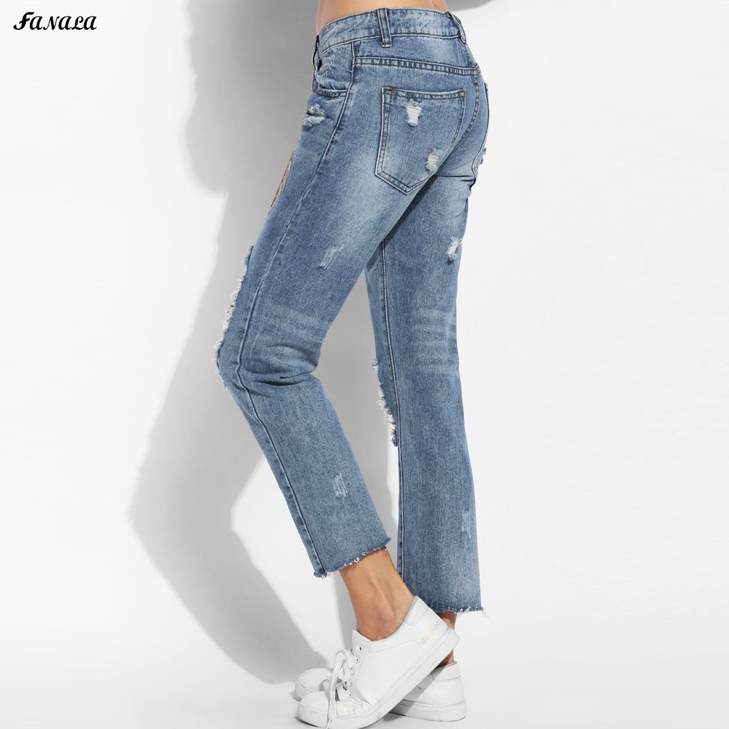 Women Slim Jeans Autumn High Waist Elastic Holes Jeans Women Jeans Femme Feather Embroidery Casual Denim Pants Plus Size 2017 new jeans women spring pants high waist thin slim elastic waist pencil pants fashion denim trousers 3 color plus size
