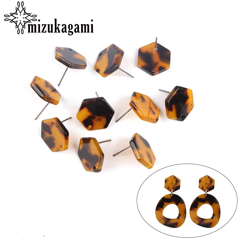 6pcs/lot 16mm Resin Tortoiseshell Hexagon Base Earrings Pendant Connectors For DIY Earrings Jewelry Making Finding Accessories