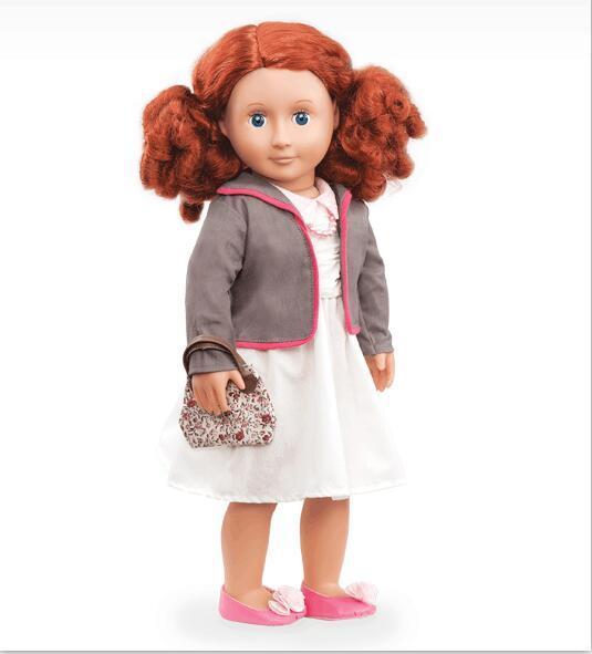 1 серый короткий пальто, 1 белое платье, 1 жемчужное ожерелье American Girl Куклы Сразу Фабрика Нашего Поколения Куклы AG801
