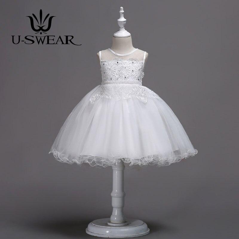 U-SWEAR 2019 New Arrival Elegant   Flower     Girl     Dresses   Sleeveless O-neck Flora Lace Pearls Crystal Bow Chiffon Ball Gown Vestidos